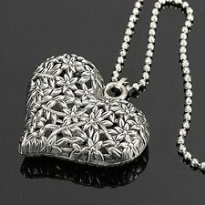 Heart Pendant Necklace Chain Silver Rhinestone Jewelry Charm Valentine's Day