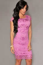 WOMENS PINK LACE DRESS BODYCON EVENING BANDAGE WIGGLE CELEB SIZE 8 & 10