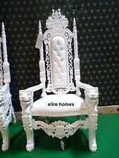 UK STOCK 178cm Lion King Throne wedding Chair ~ All White   /  with faux leather