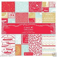 "Papermania 12x12"" scrapbooking paper papers 12 days of Christmas 24 sheets 160gm"