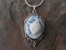 GORGEOUS CAT CAMEO NECKLACE PENDANT (WHITE/BLUE) 925 PLATE CHAIN- QUALITY!!!