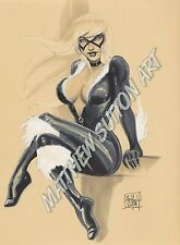 Black Cat Pinup Original Copic Marker Drawing LIMITED EDITION Signed Print