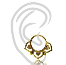 """18G TINY 1/4"""" INCH 6MM RING LEAF BRASS HANGING TRAGUS NOSE HELIX EARRING SEPTUM"""