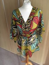 Lovely WALLIS embellished Multi-coloured kaftan style top size medium
