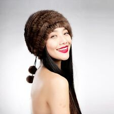 14620 100% Real Knitted Mink Fur Hat with Fur Pom pom Womens Winter Hats Cap