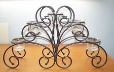 Wrought Iron Table Candle Centerpiece Candelabra Black Display Stand 5 Glass Cup