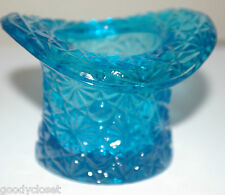 FENTON DAISY AND BUTTON TURQUOISE BLUE GLASS TOP HAT TOOTHPICK HOLDER VASE