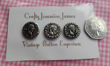 3 Silver coloured coin style metal shank vintage buttons approx 20mm
