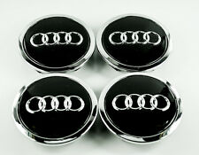 4X ALLOY WHEEL CENTER CENTRE CAPS FOR AUDI A3 A4 A5 A6 TT RS4 Q5 Q7 BLACK 68mm