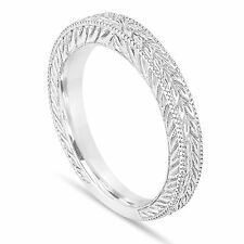 Platinum Wedding And Anniversary Band Vintage Antique Style Engraved Handmade