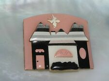 Estate Designs by Lucinda Pink Black Gray & Cream Castle Mansion House Butterfly