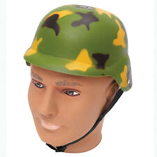 #ARMY CAMOUFLAGE HELMET MILITARY FANCY DRESS ADULT PLASTIC
