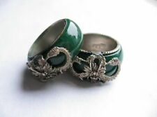 A pair of old green jade stone handwork inlay tibet-silver dragon finger ring ff