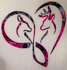 """Infinity Heart Doe Buck Deer Vinyl Decal 5"""" Browning Muddy Country Truck Girl"""