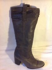 Next Brown Knee High Leather Boots Size 3.5