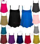 Women's Ladies Plain Printed CAMI SWING VEST Sleeveless Top lot Strappy Flared