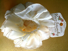 Japanese Chiffon Hair Scrunchy, Scrunchies Hair Ties - White Silky