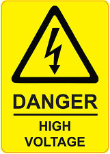 [ 205x290mm ] DANGER - HIGH VOLTAGE | health and safety | signs/stickers YELLOW