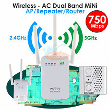 750Mbps Dual Band 2.4/5G Wireless Range Extender WiFi Repeater Router 3 Antennas
