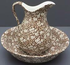 Royal Crownford Ironstone Staffordshire Brown Calico Pitcher Wash Basin Bowl