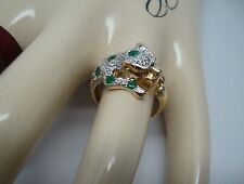 14K Gold 585 EMERALD & DIAMOND Panther Leopard Cheetah Big Cat Ring Size 6.25