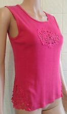 Ted Baker Jean size 3 Pink Cotton Sleeveless Top with Embroidered Front & Sides