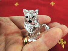 "Retired 2"" Tall Swarovski SWAN Crystal SITTING KITTY CAT Figurine # 160799"