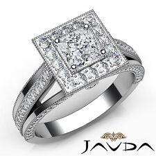 Halo Princess Diamond Pave Set Engagement Ring GIA E Color VVS2 Platinum 1.61Ct