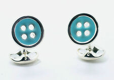 Deakin and Francis Sterling Silver & Enameled Button Cufflinks
