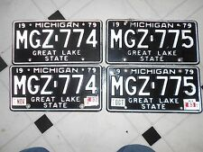 1979 Michigan Great Lake State license plates 2 SETS OF 2 IN # ORDER MGZ-774 775