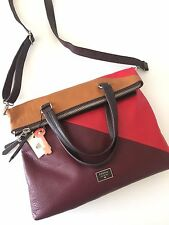 NWT Fossil Dawson Large Foldover Tote Red Multi Patchwork Leather Bag ZB6655995