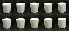 Lot of 10 Small White Plastic Canisters/Containers with Lid