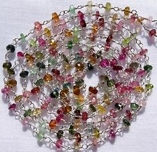1 Feet 925 Solid Sterling Silver MULTI TOURMALINE Faceted Bead Vermil Link Chain
