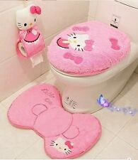 4 Pcs/Set Hello Kitty Bathroom Set Toilet WC Seat Cover Bath Mat Lid Toilet Set