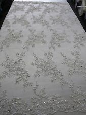 "White Bridal Floral Mesh w/ Embroidery Beaded Lace Fabric- 50"" -Sold by the yard"
