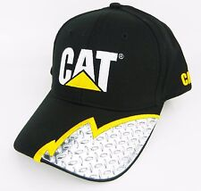 CAT CATERPILLAR *BLACK DIAMONDPLATE* TRADEMARK LOGO Trucker HAT CAP * NEW* CA05