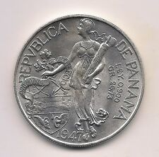 1947 Panama Silver Balboa-Fabulous Coin With Mint Luster !