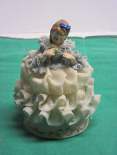 Antique Irish Dresden figurine in fine porcelain china Anette with flower new