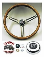 "steering wheel for IDIDIT FLAMING RIVER column GM spline V8 15"" STAINLESS WOOD"