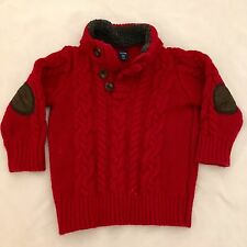 Baby Gap Red CABLE KNIT SWEATER 12-18 Months Toddler Elbow Patches Toggle Fleece