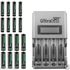 8pcs AA + 8pcs AAA 1.2V Ni-MH Rechargeable Battery GO!GREEN + LCD Smart Charger