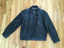 GUESS Mens Sz L Black Leather Fully Lined Jacket Coat