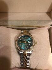 Vintage Ladies Rolex Oyster Perpetual Datejust Diamond Dial And Bezel 18k & SS