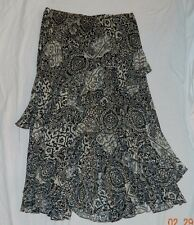 Designer Ralph Lauren Boho Sheer Silk Print Black/WhiteTiered Maxi Skirt M