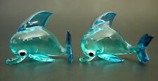 2 Tiny Glass BOTTLENOSE DOLPHINS Porpoise Turquoise Glass Animals Glass Ornament