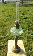 Antique Oil Lamp Kerosine Green Glass Vaseline Bubbled glass Brass