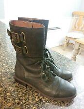 LUCKY BRAND GLORA WOMEN'S LEATHER MID CALF MILITARY STYLE BOOTS SIZE 9 NICE!