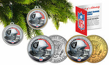 OAKLAND RAIDERS Christmas Tree Ornaments JFK Half Dollar US 2-Coin Set NFL