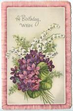 VINTAGE WHITE LILY OF THE VALLEY PURPLE HUES GARDEN FLOWER VIOLETS GREETING CARD