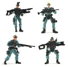 Set of 4 Police SWAT Team Fighter Soldier Figures w/Gun Weapon